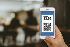 Fintech concept, paying for goods and services by smartphone using E-Wallet and E-Money.