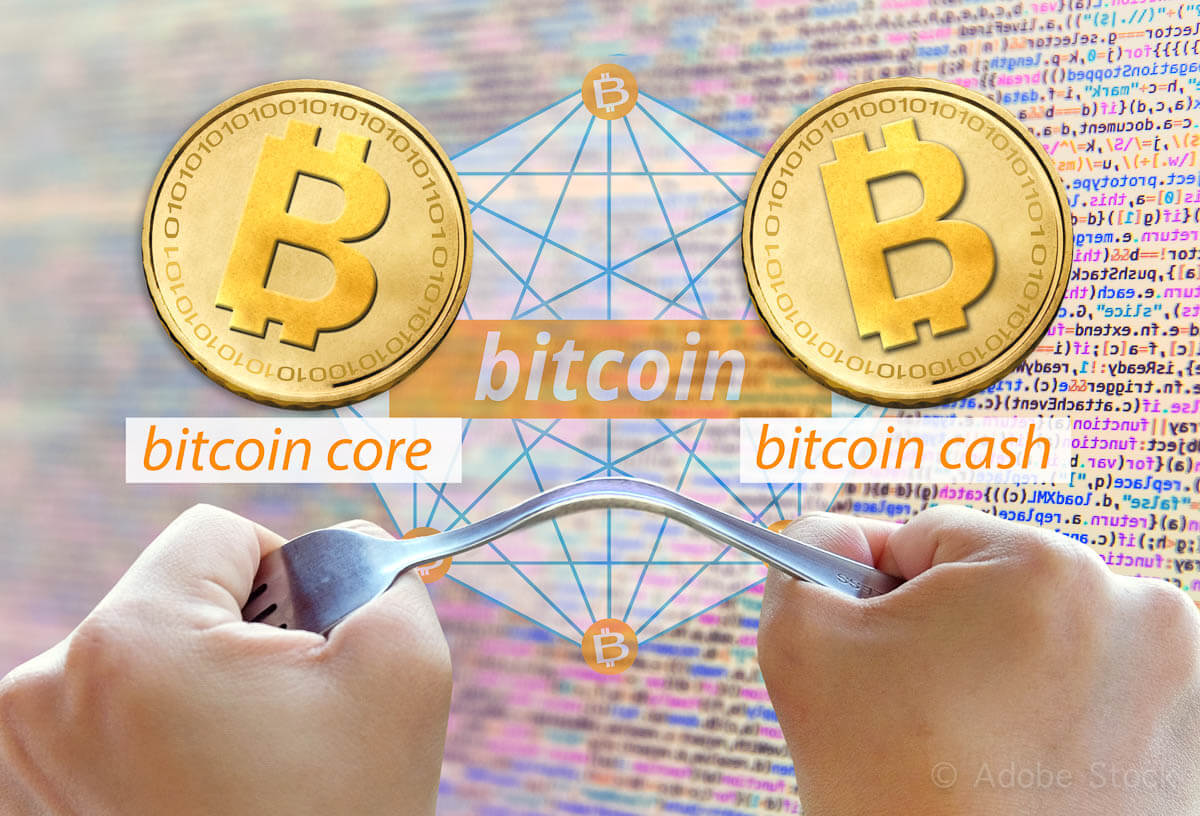 Concept of  Bitcoin hardfork, split into two currencies, Bitcoin cash Cryptocurrency