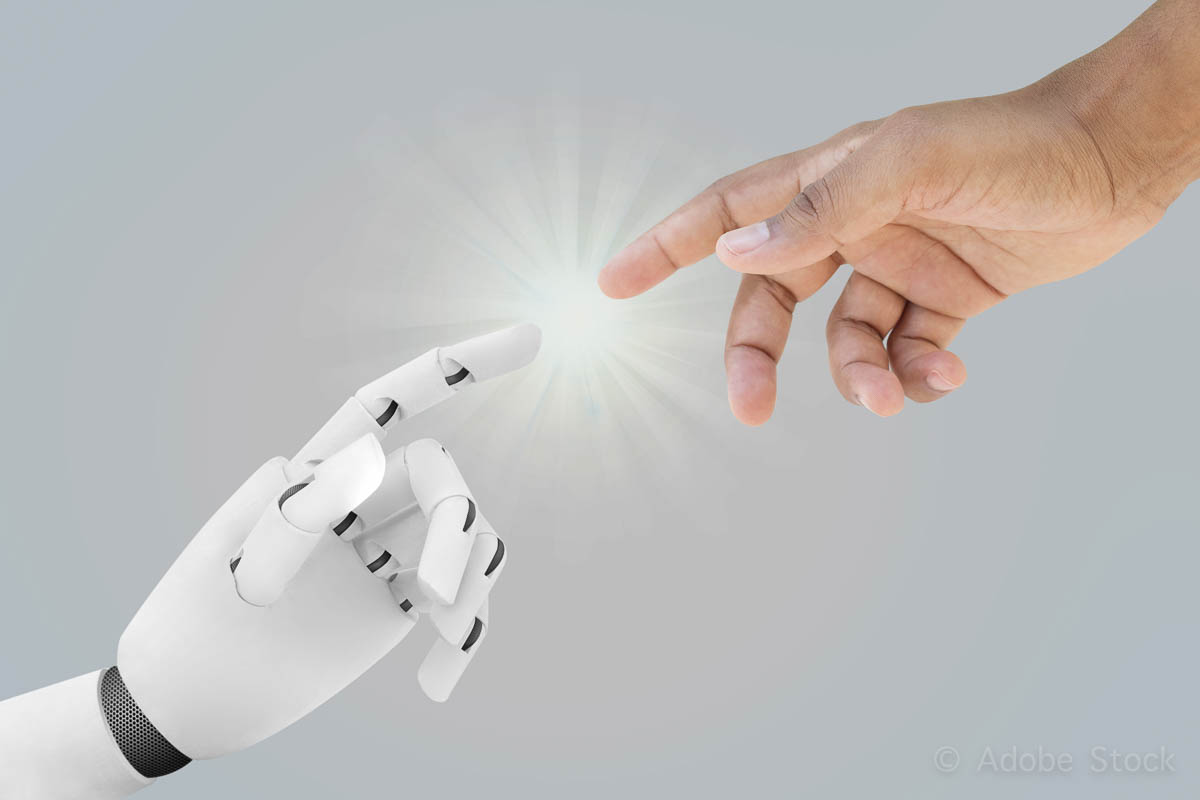 Human and robot hands reaching – Artificial Intelligence