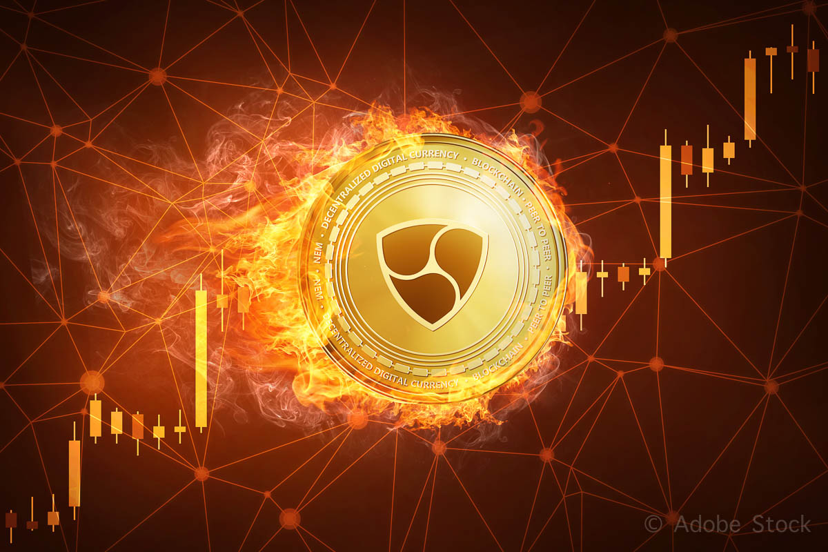 NEM coin in fire with bull stock chart.